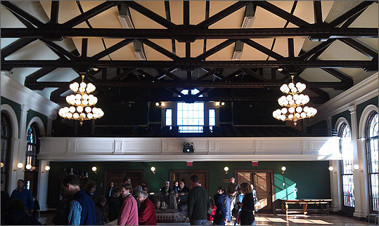 One important aspect of the renovation was restoring Town Hall's second floor ballroom, with its impressive vaulted ceiling. The space had been filled with subdivided offices.