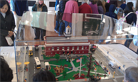 This 15,000 piece Lego replica of the new Town Hall and adjoining Town Common was constructed with the help of Needham's Olin College, an engineering school.