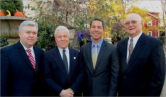 Known at 'The Mayor' years after he left office, Jim Milano mentored and remained friends with (from left) current Mayor Rob Dolan and former mayors Dick Lyons, Patrick Guerriero, and Ronald Alley, all in attendance at the funeral Mass.