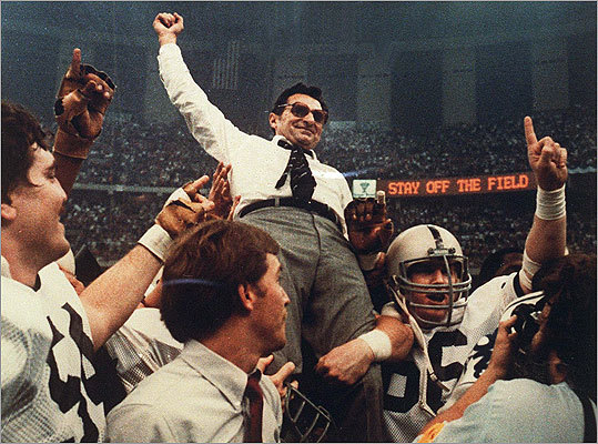 Pictured, on Jan. 1, 1983, Paterno celebrated as he was carried off the field after a 27-23 victory against Georgia in the Sugar Bowl, to claim the national championship, at the Superdome in New Orleans.