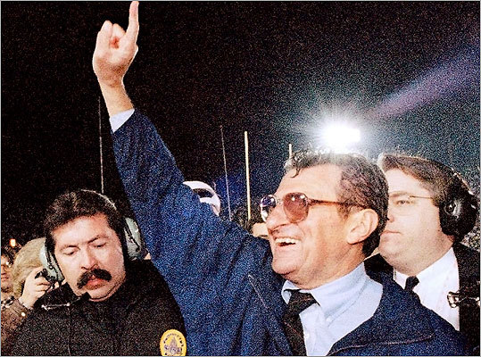 Pictured, on Jan. 2, 1995, Paterno smiled as he celebrated his team's victory over the University of Oregon in the Rose Bowl in Pasadena, Calif.