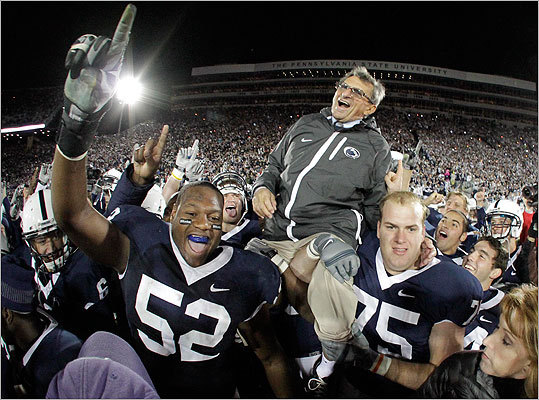 On Nov. 6, 2010, Paterno was carried off the field by his players after getting his 400th collegiate win, a 38-21 victory over Northwestern.