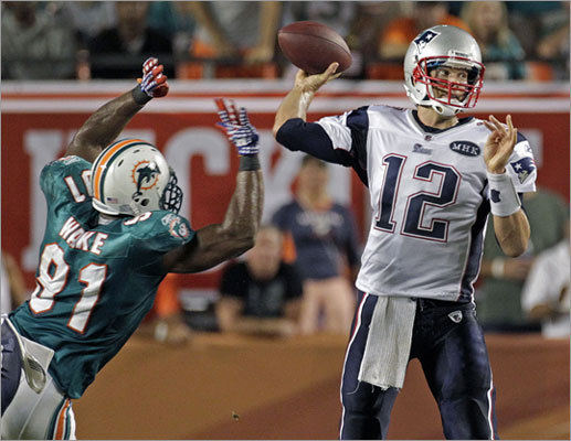 Best individual performance: Tom Brady's 517-yard game vs. Miami. Any true Patriots fan can rattle off a list of classic performances by Brady without much prompting. There certainly are enough to choose from. But the reigning NFL Most Valuable Player has rarely been better than he was in the season opener against the Dolphins, when he threw for 517 yards &#150; the fifth-highest single-game total in NFL history &#150; and four touchdowns, including a 99-yard strike to Wes Welker.