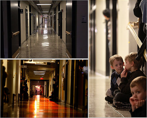 """More than 100 people gathered at an MIT building just before 4:20 p.m. on Friday, when enthusiasts had predicted the sun would align with the 825-foot hallway in the building known as the Infinite Corridor, in a phenomenon that has been dubbed """"MIThenge.'"""