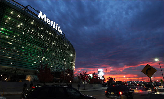 About 3 1/2 hours before kickoff, a brilliant red sunset was visible near MetLife Stadium.