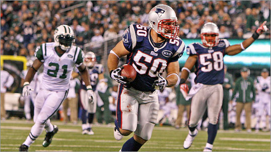 The interception was the second of the game for Ninkovich and provided the final score in the Pats' victory. Despite several injuries on defense, the Patriots converted three turnovers into scores.