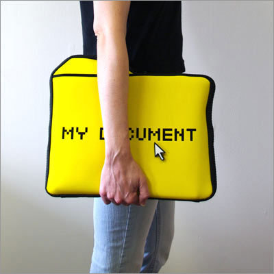 My Documents Laptop Sleeve Price: $29.99 Get a laugh when you walk into any meeting. The bag is a nice metaphor for your computer.