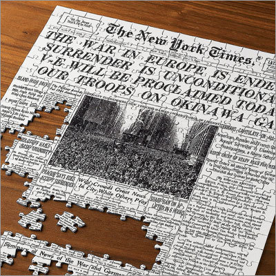 The Select-A-Date New York Times Jigsaw Puzzle Price: $49.95 This customized puzzle comes with the front page of any New York Times since 1888. Color puzzles are available after 1997.