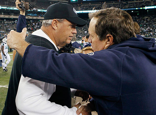 The meeting of the coaches has become an eagerly-awaited moment after Patriots-Jets games. Jets coach Rex Ryan, left, and Pats coach Bill Belichick greeted each other after the game.