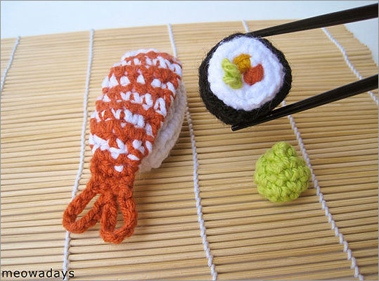 Crocheted pet toys with catnip Price: $18 Let your cat play in high class with these sushi-look-alikes that are crocheted artworks.