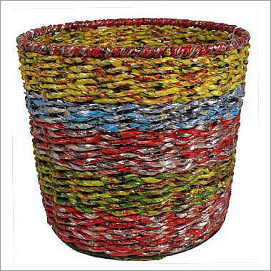 Striped Wrapper Waste Basket Price: $18 Recycle while giving this holiday season. This basket is made from paper wrappers that are reused to make this nifty basket. If you're a Mentos fan, check out this $24-basket made from the candy's wrappers.
