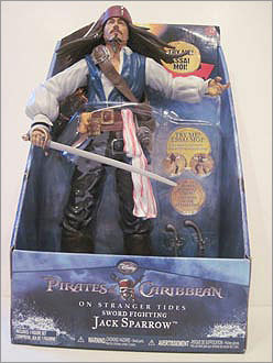 Sword Fighting Jack Sparrow Price: $15.98 Manufacturer or distributor: Jakks Pacific Potential hazard: Possible eye and other bodily injuries. The action figure's art has a rigid, plastic sword that moves with the push of a lever, according to WATCH. No warnings are in the package for possible eye injuries, the organization said.