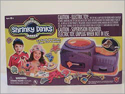 The Incredible Shrinky Dinks Maker Price: $29.99 Manufacturer or distributor: Big Time Toys, LLC Potential hazard: Possible electric shock and burn injuries. The packaging comes with several warnings about the possibilities of children shocking themselves. So many that WATCH said, 'A product with so many inherent hazards does not lend itself to use in a home environment with children.'