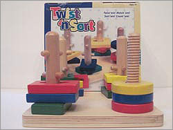 Twist 'n Sort Price: $13.35 Manufacturer or distributor: Guidecraft Inc. Potential hazard: Small parts cause a choking hazard. WATCH noted that the the small pegs on three of the four posts can detach, which poses a choking hazard to young children. The toy was purchased at WonderBrains.com.
