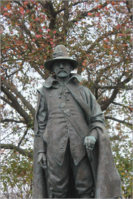 William Bradford served as governor of the colony for more than 30 years. He performed the first marriage ceremony in the colony, and by many accounts, he was the forefather of Thanksgiving by instituting a 'harvest festival,' in which the natives joined the colonists in a combined celebration of the harvesting season. As statue in his honor stands not far from Plymouth Rock.
