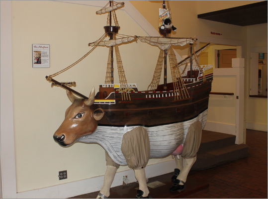 Guests are first greeted by the 'Mooflower' at the Plimoth Plantation Visitor Center. This work of art was the creation of artist Joseph Keen, originally intended for the CowParade Boston. At the Visitor's Center, guests can catch an informative 14-minute film that details the early lives and cultural struggles between the colonists and the Wampanoag.