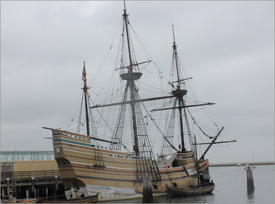 About 3 miles to the north of Plimoth Plantation, at the Plymouth waterfront, sits the Mayflower II, a 1957 recreation of the 1620 version. Like the original, the Mayflower II sailed across the Atlantic, from England, where she was built. The ship is still sailworthy and manages to leave the docks from time to time.