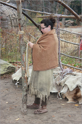 In the village, visitors can speak with Wampanoags and watch them perform, and ask questions about their traditional skills.