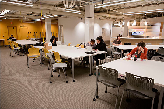 A view of the gathering space for people to meet up and work.