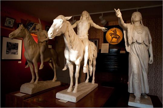 "The sculptor's ""Appeal to the Great Spirit"" has been at the MFA for about 100 years, Ward said, and the museum has several other pieces by Dallin, including another sculpture of a Native American called ""The Protest."" From left: Dallin's Native American statues, 'The Scout' (1910), 'The Appeal to the Great Spirit' (1914), and 'Sacajawea' (1914)."