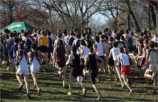 Div. 1 boys' cross country Racers headed into the trees during the race at Franklin Park. State cross country championships results