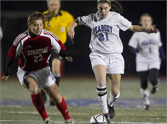 Div. 1 girls' soccer Peabody High's Haley Dowd controled the ball in front of East Longmeadow High's Alyssa Balboni.