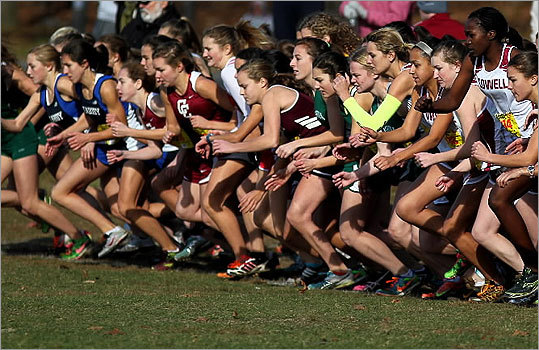 Div. 1 girls' cross country Runners took off at the start of their race inside Franklin Park. State cross country championships results