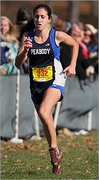Div. 1 girls' cross country Catarina Rocha from Peabody headed to the finish line to win the individual title at Franklin Park. State cross country championships results