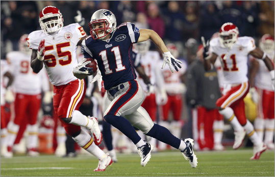 Julian Edelman returned a punt 72 yards for a touchdown in the third quarter to give the Patriots a 24-3 lead.