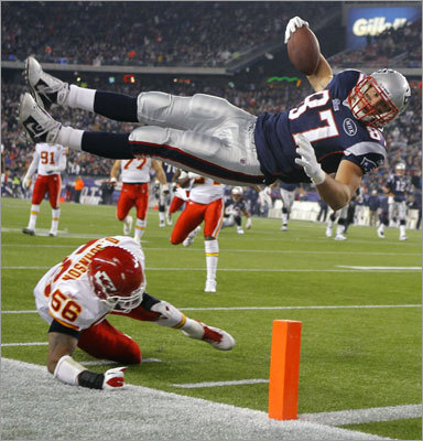 Patriots tight end Rob Gronkowski went airborne as he scored his second touchdown of the game. Gronkowski's leap into the end zone capped a 19-yard pass play.