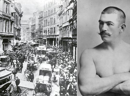 John L. Sullivan Historically known as 'The Boston Strongboy,' the world's first modern heavyweight champion was born in Roxbury in 1858 when the neighborhood was bustling with Irish immigrants. He became the first athlete of his time to earn more than $1 million. Pictured is a crowd in front of The Boston Globe office waiting for news of the 1889 fight between John L. Sullivan and Jake Kilrain.