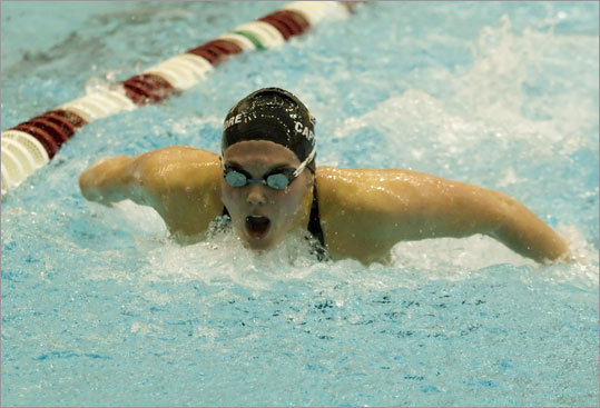 Div. 1 girls' swimming Andover senior captain Rachel Moore won the 100 yard butterfly at MIT's Zesiger Sports Center, helping her team take the title over Chelmsford. Story: Andover wins 12th title State swimming results