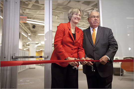 Located on the first floor of Batten Hall at 125 Western Ave. on Harvard's Allston campus, the i-lab reactivates the building that once housed WGBH-TV's studios. Pictured: Harvard President Drew Faust and Boston Mayor Thomas M. Menino at the official opening of the Harvard Innovation Lab on Nov. 18.