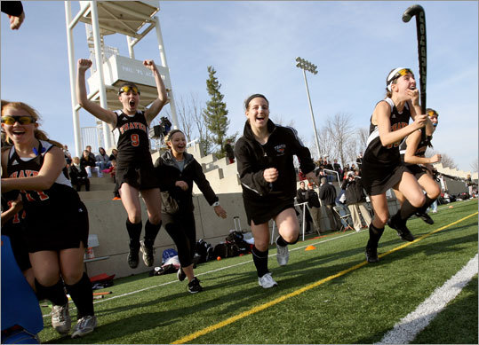 Prep field hockey Thayer players jumped in celebration after beating Middlesex, 5-1, for the New England Prep School Class B title