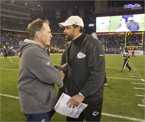 Patriots coach Bill Belichick and Chiefs coach Todd Haley also met at midfield following the game. While there was some speculation late in the game that Haley might be upset with the Patriots running up the score, their handshake appeared cordial.