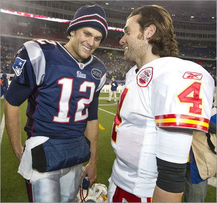 Brady greeted his counterpart, Chiefs quarterback Tyler Palko, after the game.