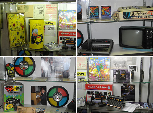 Displays pay tribute to the early home video game systems, including ColecoVision, the Atari 2600, and the Magnavox Odyssey. Read the Boston.com article.