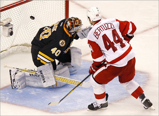 Detroit's Todd Bertuzzi beat Bruins goalie Tuukka Rask on the final shot of an overtime shootout to lift the Red Wings to a 3-2 victory over the Bruins. The Bruins were playing their annual Black Friday matinee at TD Garden.