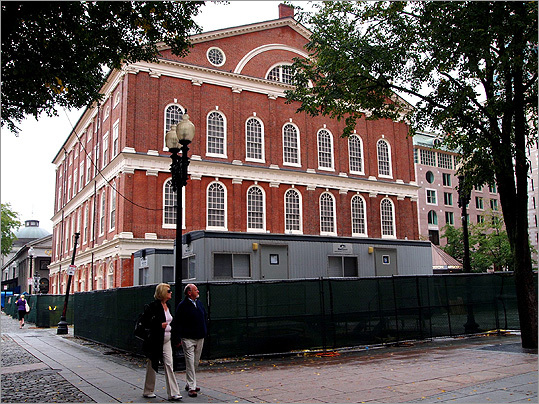"Since the fall of 2010, Faneuil Hall has been surrounded by temporary fencing, its first floor and basement closed to the public, as it undergoes renovations to create a new visitors' center for Boston's historic sites. National Park Service spokesman Sean Hennessey said the Cradle of Liberty was the logical site for the new center. ""That's where the people are, so we're kind of bringing the visitors' center to the people,"" Hennessey said."