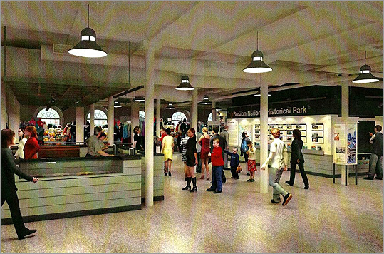 "A rendering depicts the completed visitors' center area at right with new, more open vendor kiosks at left. Faneuil Hall has undergone many changes in its 269-year history, and even within the past 50 years. ""When I was a kid … it was the meat market for the city,"" recalled Hennessey, 54. ""There were slabs of beef hanging from hooks, the floors were covered with sawdust, cars and trucks were parked all around the building. The whole area was kind of depressed and derelict."""