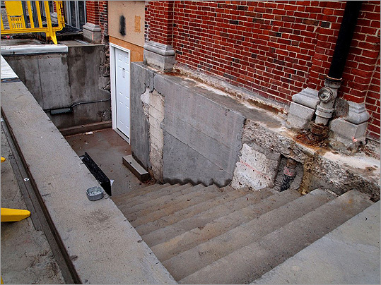 "On the north side of the building is a new basement stair. This is where the archeological survey was conducted last year in a 15-by-15-foot pit. ""They had a whole archeology water station, filtering station,"" Lieb said. ""It was quite impressive, actually."""