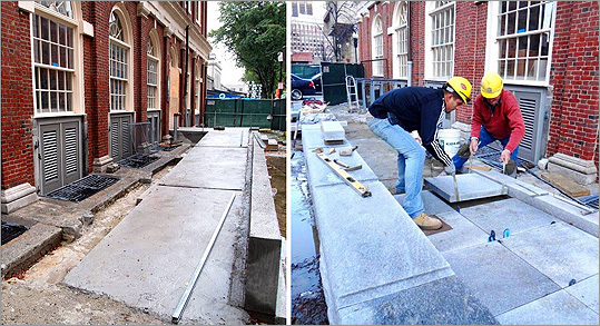"In the photo at far left, the new, sloped entryway is shown in September, when it was just a concrete path. In the second photo workers lower slabs of granite into place to complete the entryway. ""Basically you now have a non-mechanical means of access to the market level, which is really a major piece for the facility,"" said Lieb. ""So you don't have to worry about if the elevator breaks down, you're on the upper market level, how do you get out of the building."""