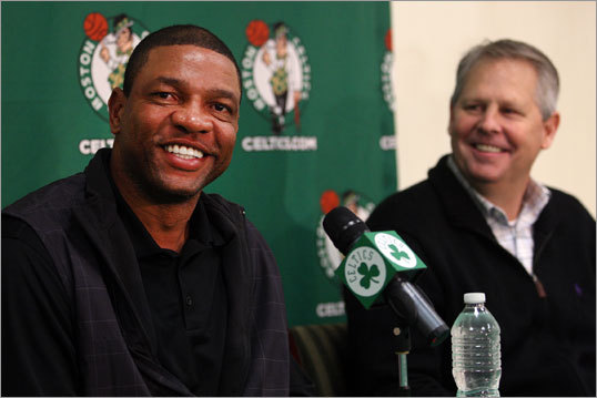 Players were free to report to the Celtics' practice facility for the first time last week, and training camp officially begins on Friday, when coach Doc Rivers (left) will get to work with his new team for the first time since the end of the NBA lockout. How many players he'll have to work with is in question. The Celtics currently have six players under contract. That's not enough to field a scrimmage, and certainly not enough to win a title. A lot will change between now and Dec. 25, when games begin, and between now and June. With that backdrop, we give our best guess at 10 predictions for the upcoming season.