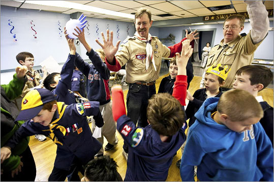 John Anderson and Mike Simmons with Cub Scout Pack 28, which meets at James Rice Amvets Post 28 in Dorchester.