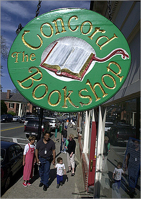 Concord Bookshop The bookstore has been around for more than 70 years. It offers personalized autographed books from local authors such as Doris Kearns Goodwin, of 'Team of Rivals.' Pedestrians pass the Concord Bookshop window on Main Street.