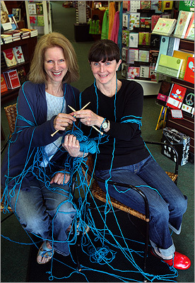 Wellesley Books The local and independent bookstore offers snacks for dogs and events for its owners. Along with current and used books, Wellesley Booksmith offers e-books for sale (as long as it's not for an Amazon Kindle). Pictured are Lee Van Kirk (left) and Kit Mitchell at the bookstore's Knit-A-Thon event.