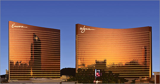 The Wynn Encore Resort, left, is shown next to its predecessor, the Wynn Las Vegas Resort.