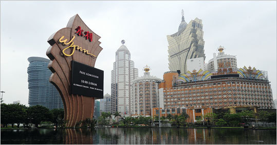 "The main entrance of Wynn Resorts in Macau. Wynn operates two casinos in Macau, the world's largest gambling market, and is promising that his third one there will be a ""breakaway'' facility unlike anything else in the world."