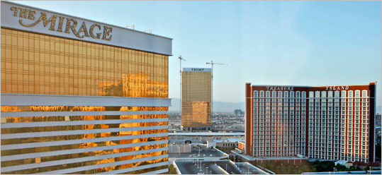 The MGM Mirage Hotel and Casino is at left, the Treasure Island at right, as the Trump Tower 1 (center, rear) was under construction in 2007. Wynn followed the Mirage with Treasure Island and the Bellagio. Treasure Island and the Bellagio were sold by Wynn to MGM Resorts International. Treasure Island is now owned by billionaire Phil Ruffin.