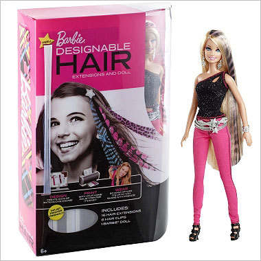 Barbie Designable Hair Price: $29.99 Mattel said its sales of Barbie dolls has have been strong worldwide this year. One of its often listed toys is a doll that comes with customizable hair extensions.